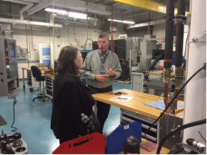 Nancy Garland (DOE) and Wayne Sumple discuss CCAT's advanced manufacturing capabilities